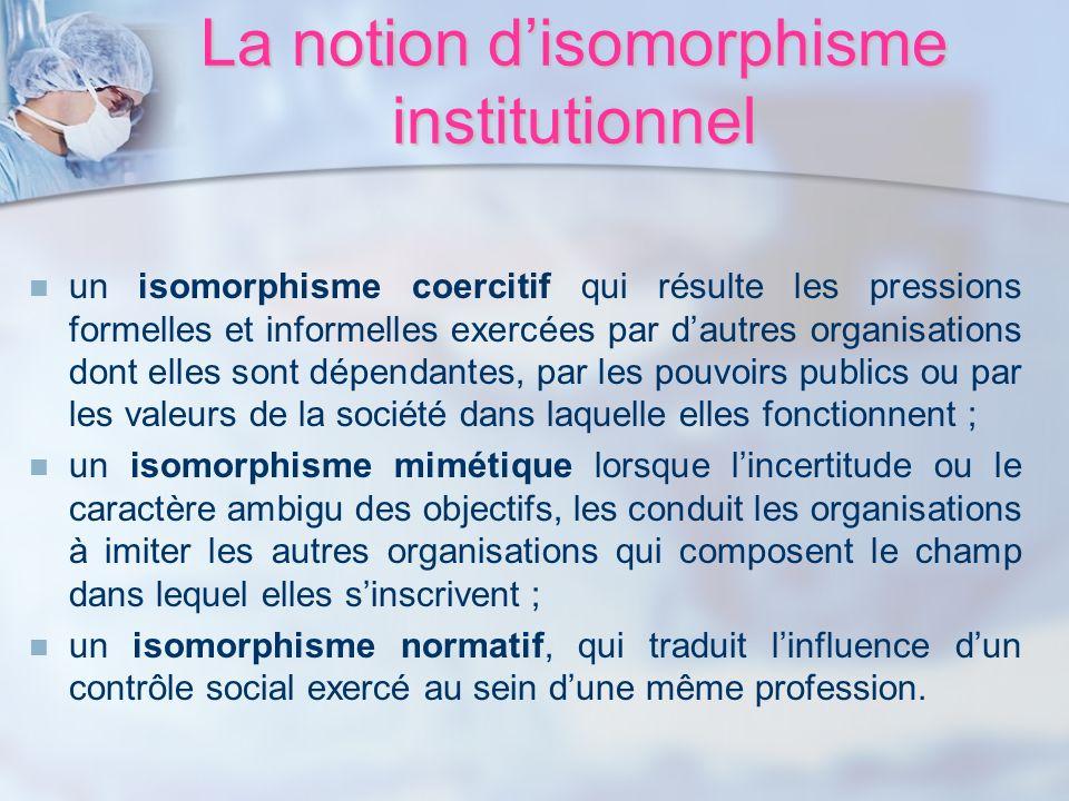 La notion disomorphisme institutionnel un isomorphisme coercitif qui résulte les pressions formelles et informelles exercées par dautres organisations