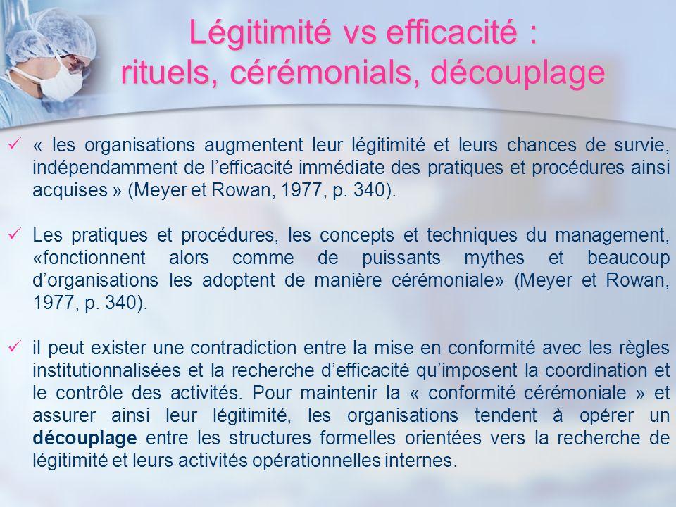 Légitimité vs efficacité : rituels, cérémonials, découplage « les organisations augmentent leur légitimité et leurs chances de survie, indépendamment