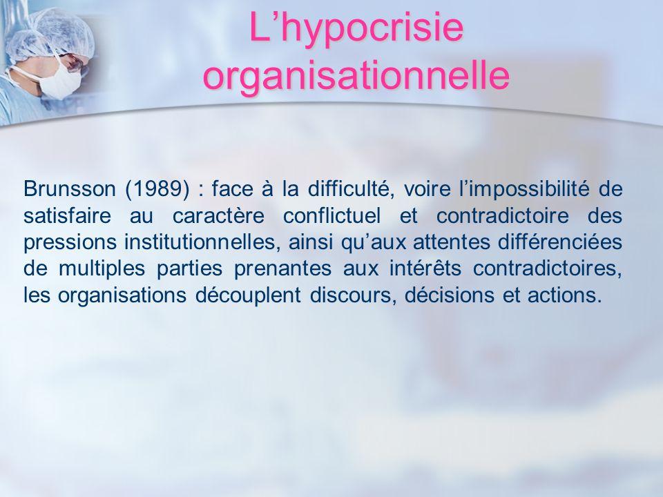 Lhypocrisie organisationnelle Brunsson (1989) : face à la difficulté, voire limpossibilité de satisfaire au caractère conflictuel et contradictoire de
