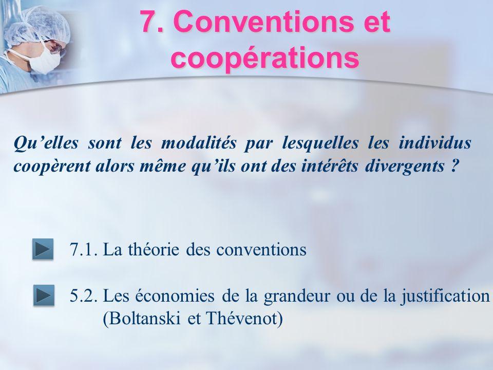 7. Conventions et coopérations 7.1. La théorie des conventions 5.2. Les économies de la grandeur ou de la justification (Boltanski et Thévenot) Quelle