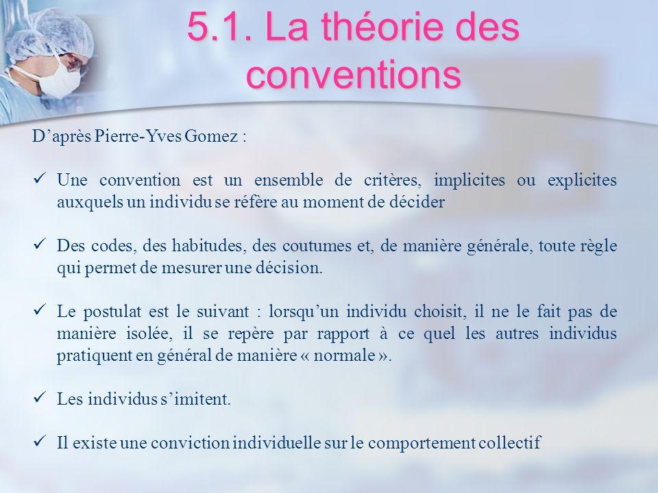 5.1. La théorie des conventions Daprès Pierre-Yves Gomez : Une convention est un ensemble de critères, implicites ou explicites auxquels un individu s