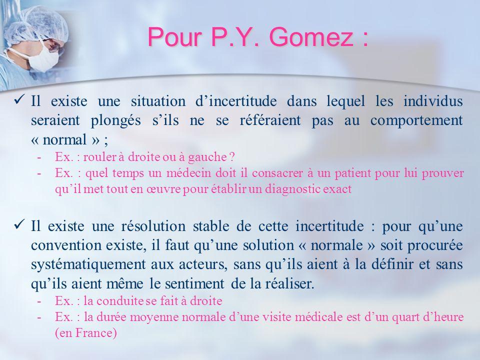 Pour P.Y. Gomez : Il existe une situation dincertitude dans lequel les individus seraient plongés sils ne se référaient pas au comportement « normal »