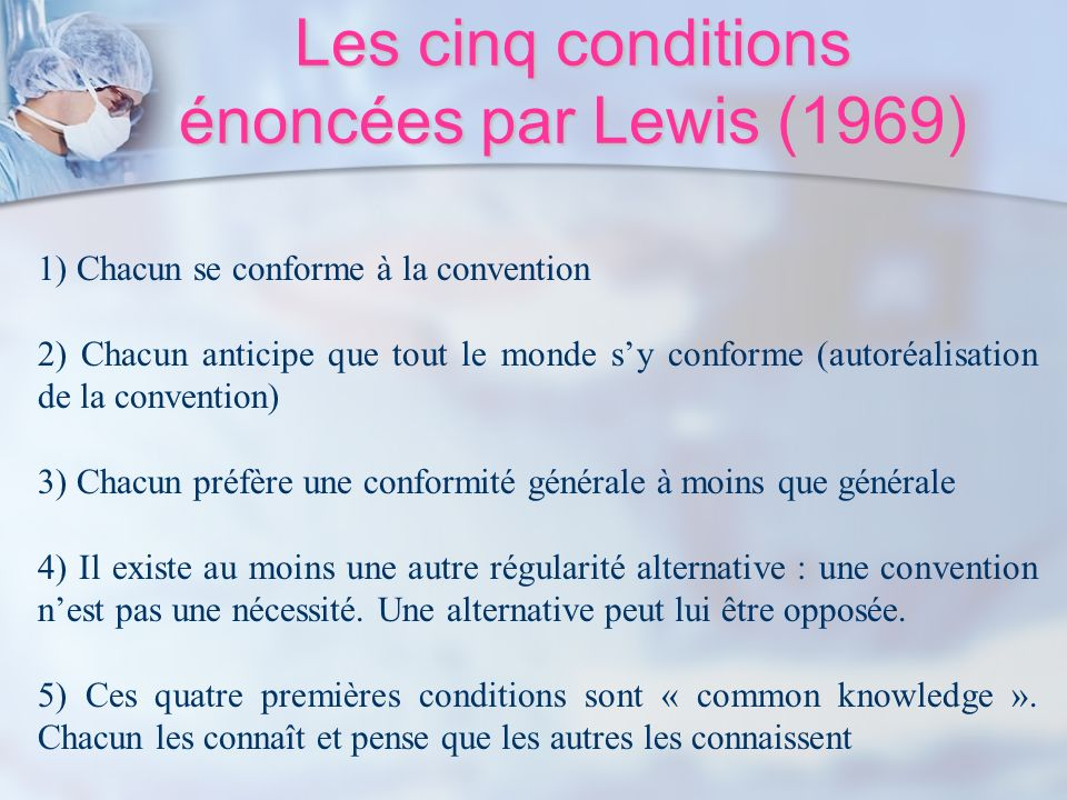 Les cinq conditions énoncées par Lewis (1969) 1) Chacun se conforme à la convention 2) Chacun anticipe que tout le monde sy conforme (autoréalisation