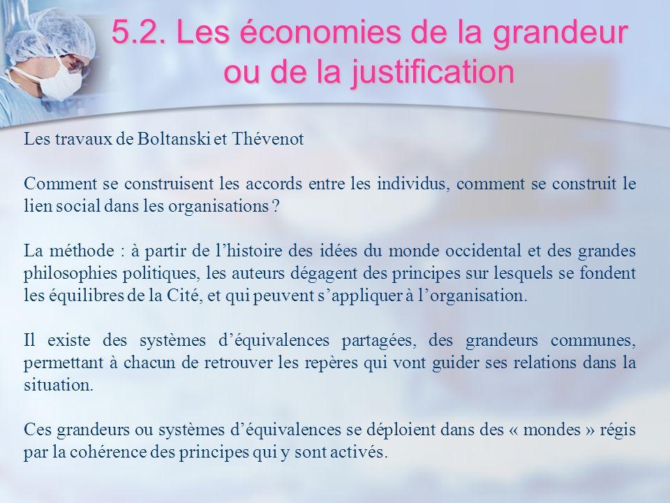 5.2. Les économies de la grandeur ou de la justification Les travaux de Boltanski et Thévenot Comment se construisent les accords entre les individus,
