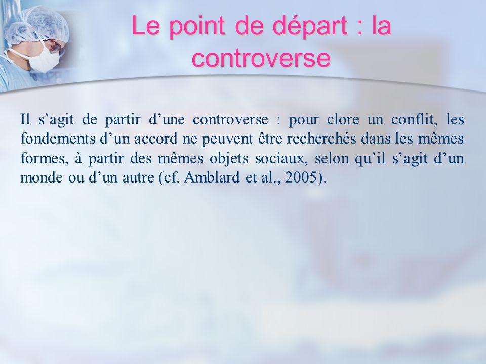 Le point de départ : la controverse Il sagit de partir dune controverse : pour clore un conflit, les fondements dun accord ne peuvent être recherchés