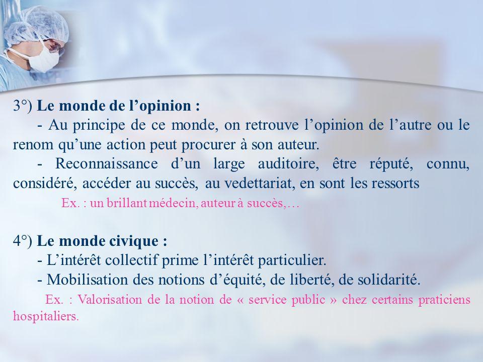 3°) Le monde de lopinion : - Au principe de ce monde, on retrouve lopinion de lautre ou le renom quune action peut procurer à son auteur. - Reconnaiss
