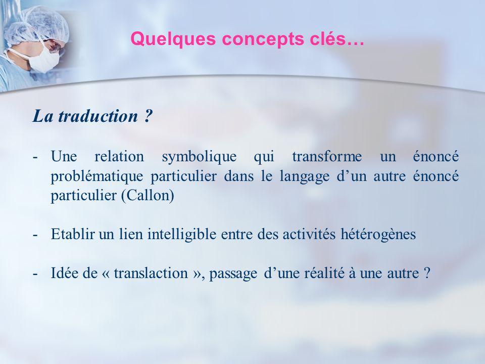 Quelques concepts clés… La traduction ? -Une relation symbolique qui transforme un énoncé problématique particulier dans le langage dun autre énoncé p