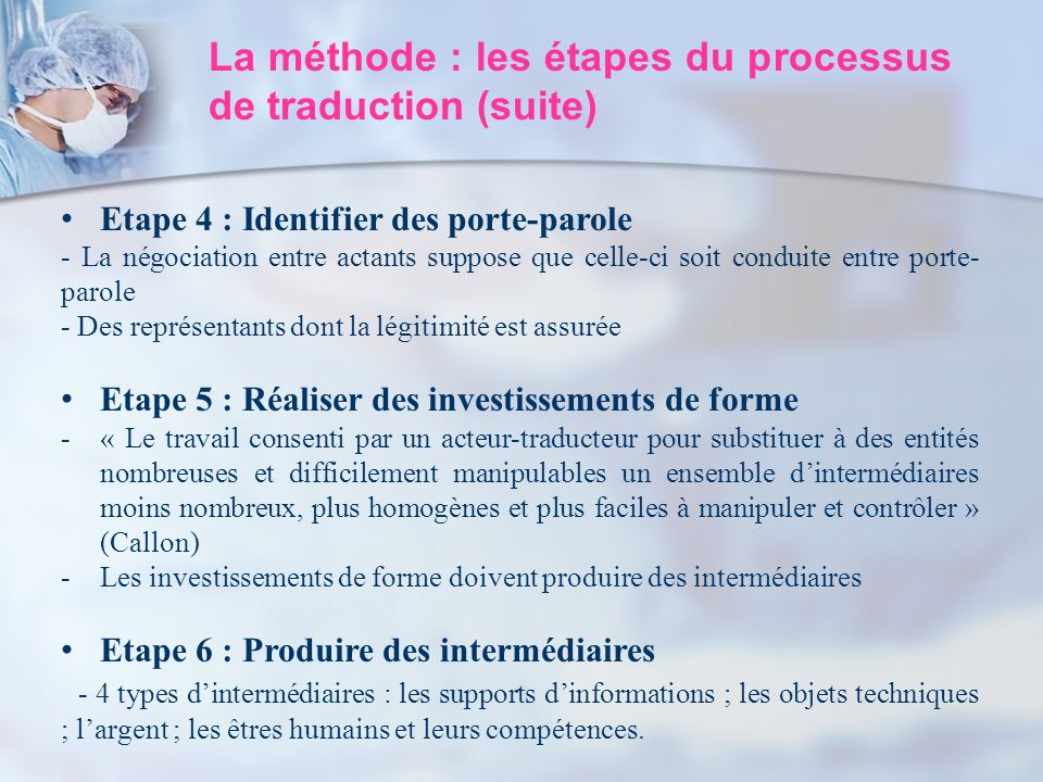 La méthode : les étapes du processus de traduction (suite) Etape 4 : Identifier des porte-parole - La négociation entre actants suppose que celle-ci s