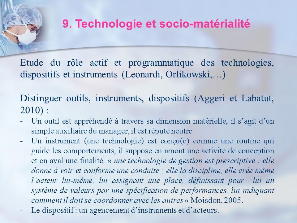 9. Technologie et socio-matérialité Etude du rôle actif et programmatique des technologies, dispositifs et instruments (Leonardi, Orlikowski,…) Distin
