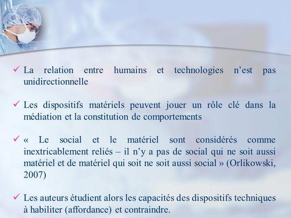 La relation entre humains et technologies nest pas unidirectionnelle Les dispositifs matériels peuvent jouer un rôle clé dans la médiation et la const
