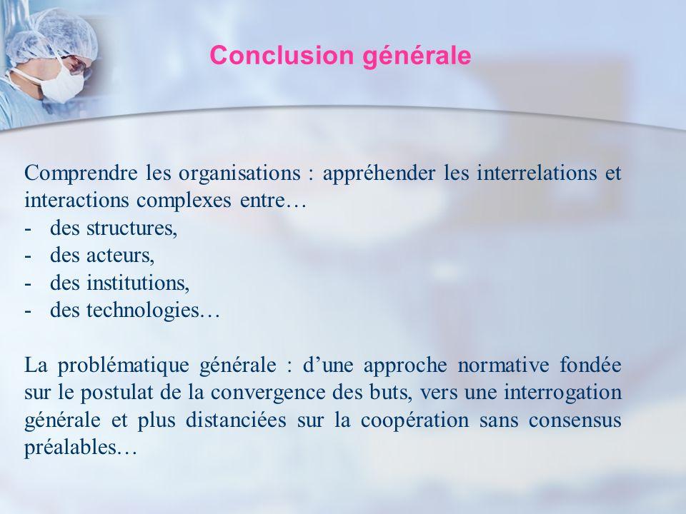 Conclusion générale Comprendre les organisations : appréhender les interrelations et interactions complexes entre… -des structures, -des acteurs, -des