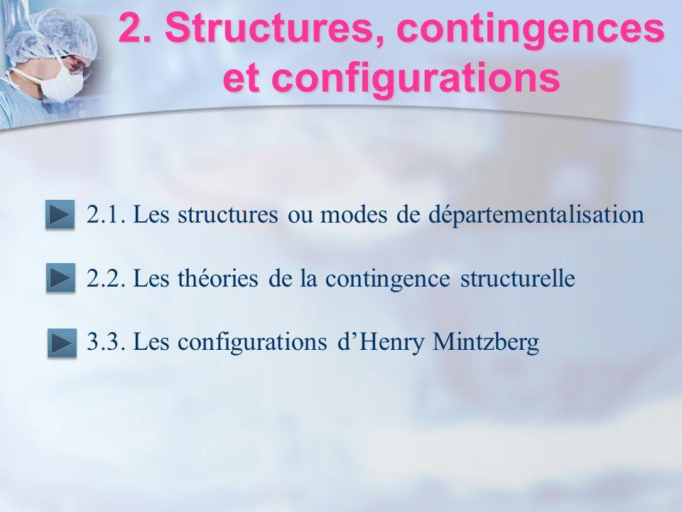 2. Structures, contingences et configurations 2.1. Les structures ou modes de départementalisation 2.2. Les théories de la contingence structurelle 3.