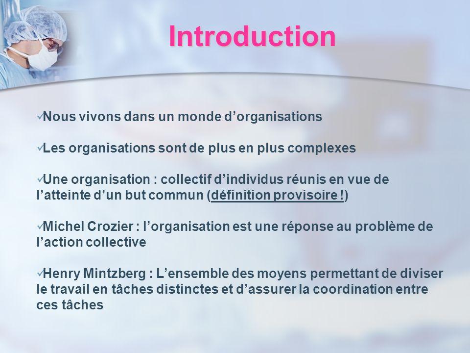 Introduction Nous vivons dans un monde dorganisations Les organisations sont de plus en plus complexes Une organisation : collectif dindividus réunis
