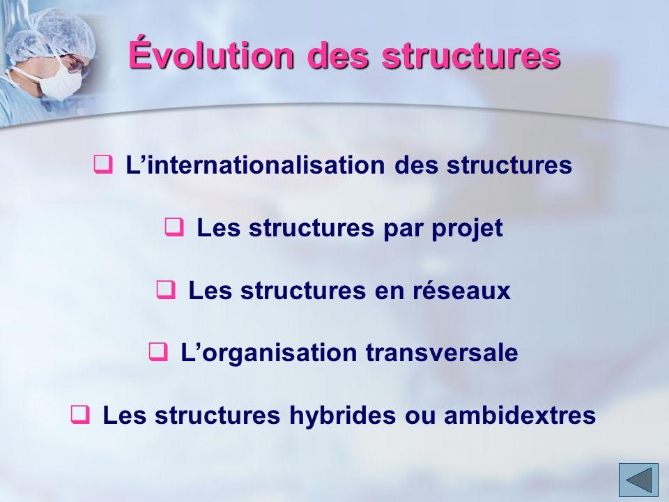 Évolution des structures Linternationalisation des structures Les structures par projet Les structures en réseaux Lorganisation transversale Les struc