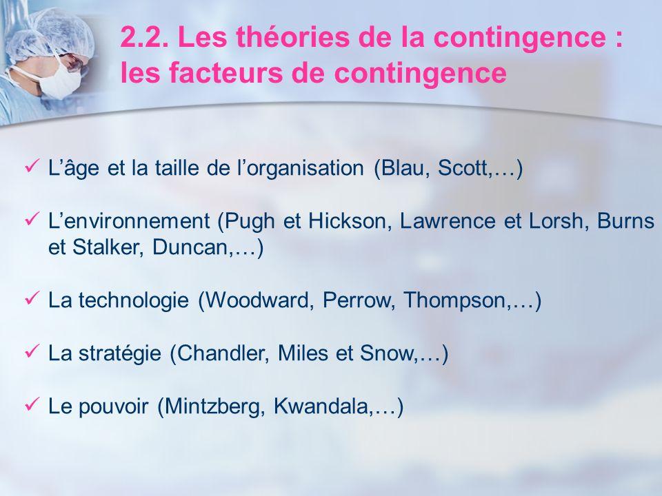 2.2. Les théories de la contingence : les facteurs de contingence Lâge et la taille de lorganisation (Blau, Scott,…) Lenvironnement (Pugh et Hickson,