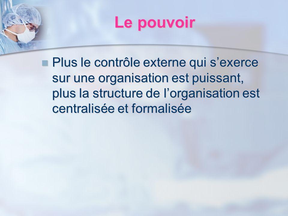 Le pouvoir Plus le contrôle externe qui sexerce sur une organisation est puissant, plus la structure de lorganisation est centralisée et formalisée Pl