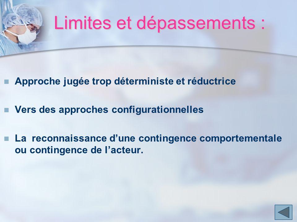 Limites et dépassements : Approche jugée trop déterministe et réductrice Vers des approches configurationnelles La reconnaissance dune contingence com