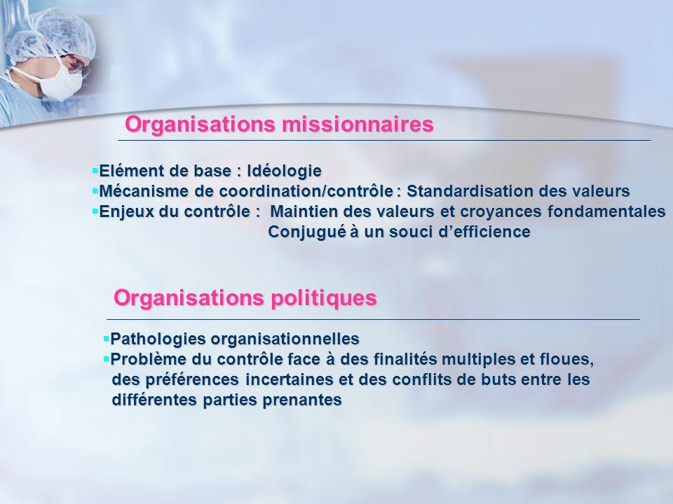 Organisations missionnaires Elément de base : Idéologie Elément de base : Idéologie Mécanisme de coordination/contrôle : Standardisation des valeurs M