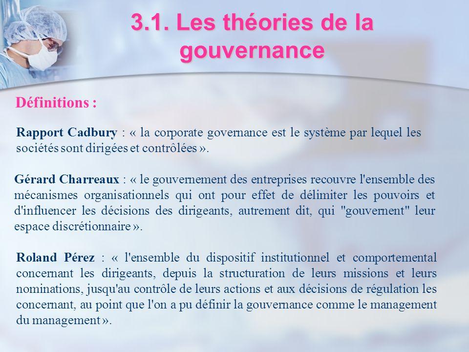 3.1. Les théories de la gouvernance Roland Pérez : « l'ensemble du dispositif institutionnel et comportemental concernant les dirigeants, depuis la st