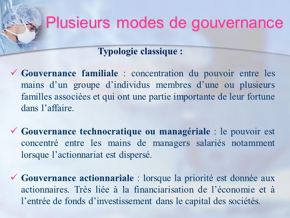 Plusieurs modes de gouvernance Gouvernance familiale : concentration du pouvoir entre les mains dun groupe dindividus membres dune ou plusieurs famill