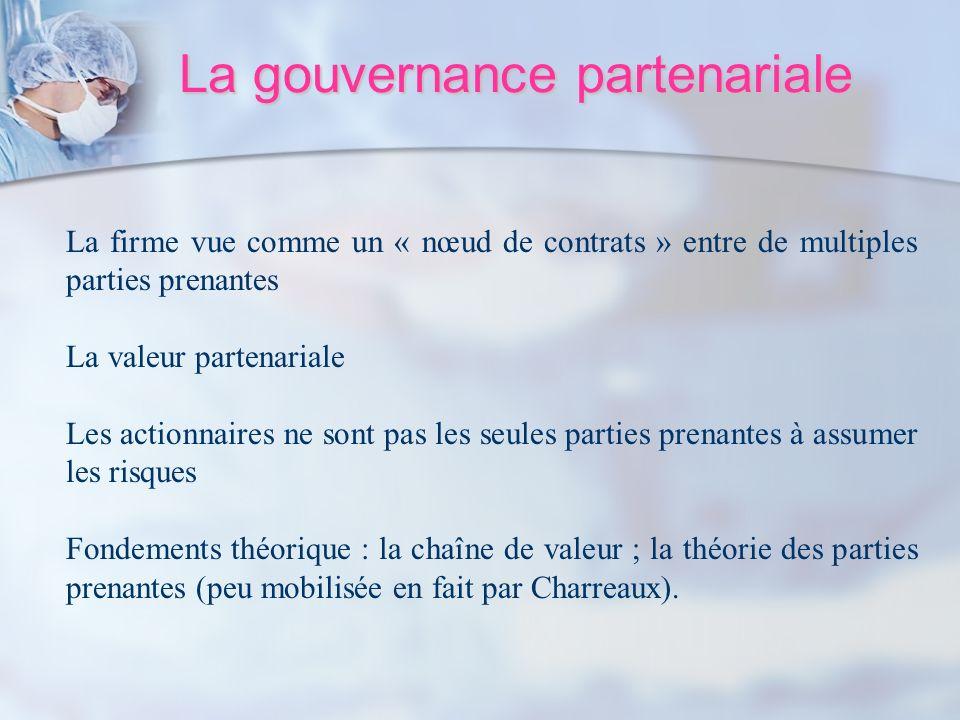 La gouvernance partenariale La firme vue comme un « nœud de contrats » entre de multiples parties prenantes La valeur partenariale Les actionnaires ne