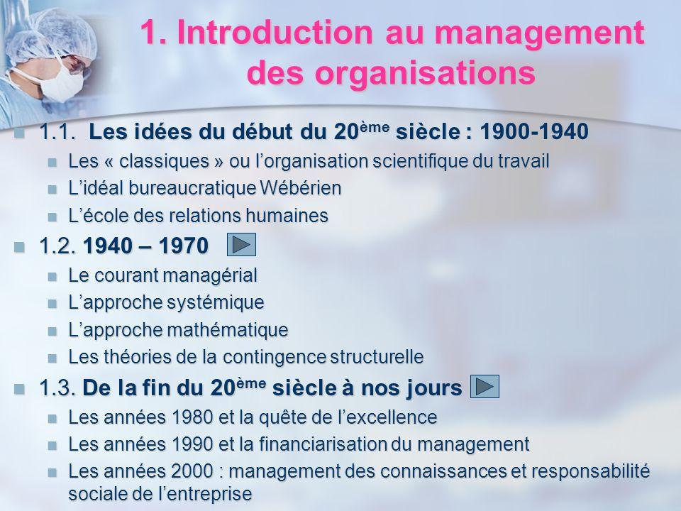 1. Introduction au management des organisations 1.1. Les idées du début du 20 ème siècle : 1900-1940 1.1. Les idées du début du 20 ème siècle : 1900-1