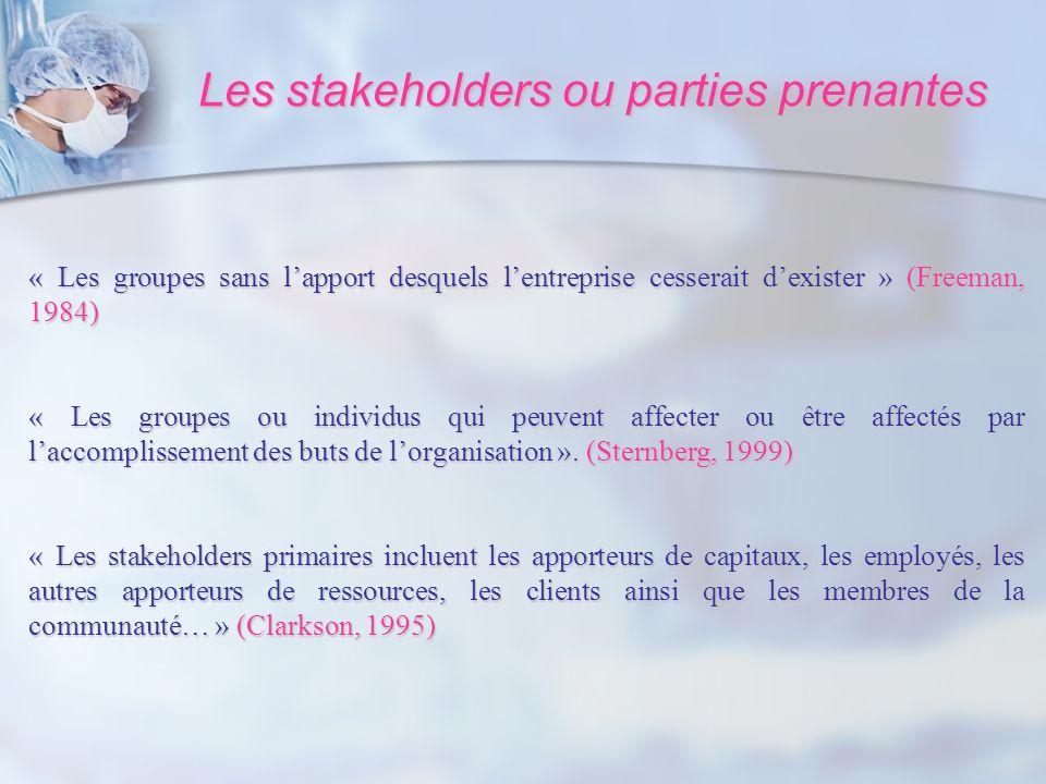 Les stakeholders ou parties prenantes « Les groupes sans lapport desquels lentreprise cesserait dexister » (Freeman, 1984) « Les groupes ou individus