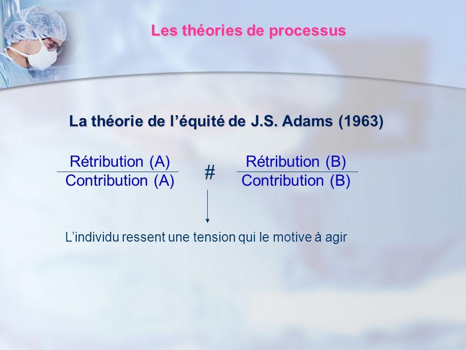 La théorie de léquité de J.S. Adams (1963) Rétribution (B) Contribution (B) Rétribution (A) Contribution (A) # Lindividu ressent une tension qui le mo