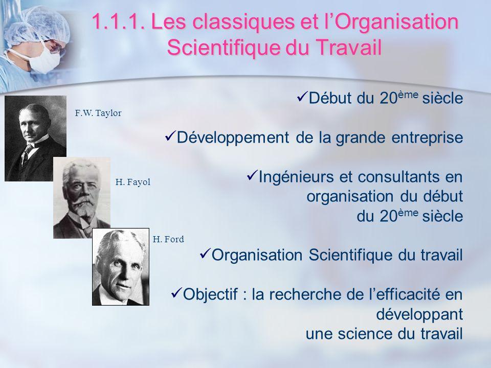 1.1.1. Les classiques et lOrganisation Scientifique du Travail Début du 20 ème siècle Développement de la grande entreprise Ingénieurs et consultants