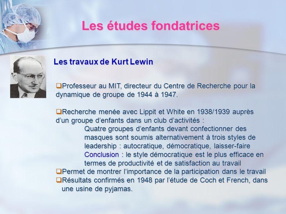 Les études fondatrices Les travaux de Kurt Lewin Professeur au MIT, directeur du Centre de Recherche pour la dynamique de groupe de 1944 à 1947. Profe