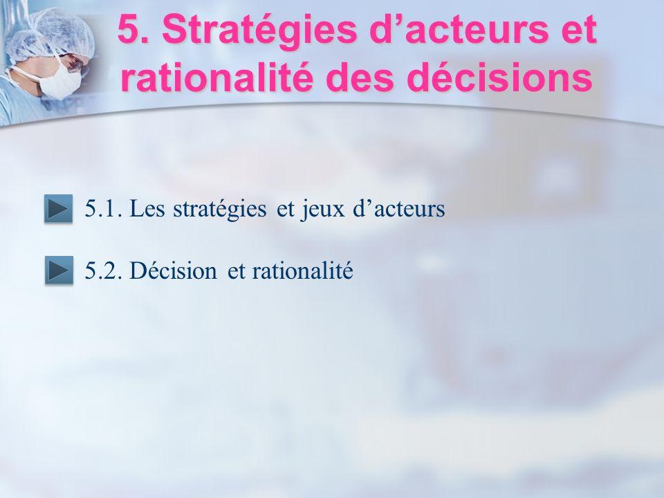 5. Stratégies dacteurs et rationalité des décisions 5.1. Les stratégies et jeux dacteurs 5.2. Décision et rationalité