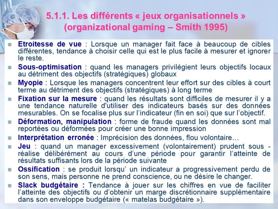 5.1.1. Les différents « jeux organisationnels » (organizational gaming – Smith 1995) Etroitesse de vue : Lorsque un manager fait face à beaucoup de ci