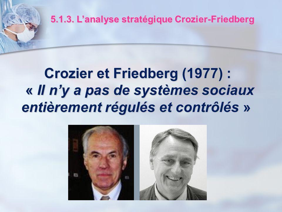Crozier et Friedberg (1977) : « Il ny a pas de systèmes sociaux « Il ny a pas de systèmes sociaux entièrement régulés et contrôlés » 5.1.3. Lanalyse s