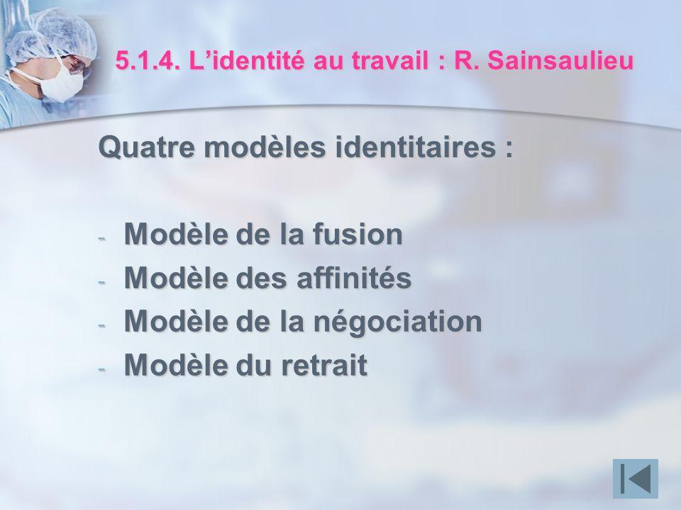 5.1.4. Lidentité au travail : R. Sainsaulieu Quatre modèles identitaires : - Modèle de la fusion - Modèle des affinités - Modèle de la négociation - M