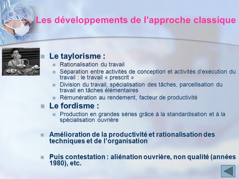Le taylorisme : Le taylorisme : Rationalisation du travail Rationalisation du travail Séparation entre activités de conception et activités dexécution