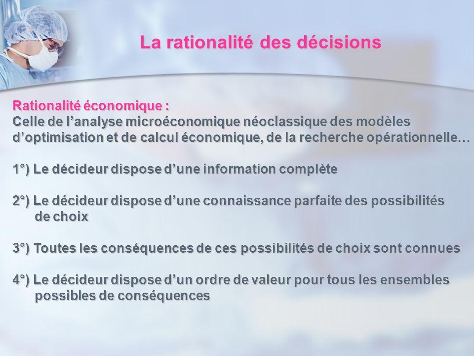 La rationalité des décisions Rationalité économique : Celle de lanalyse microéconomique néoclassique des modèles doptimisation et de calcul économique