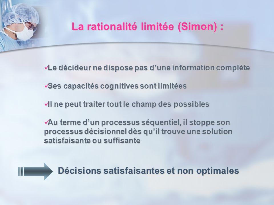La rationalité limitée (Simon) : Le décideur ne dispose pas dune information complète Le décideur ne dispose pas dune information complète Ses capacit