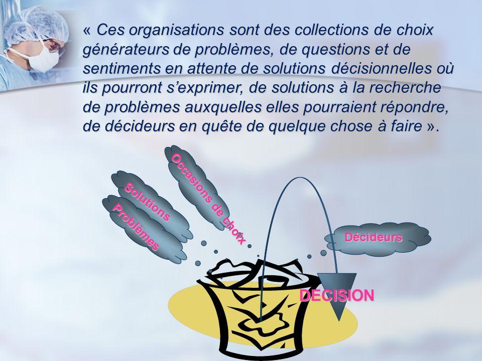 « Ces organisations sont des collections de choix générateurs de problèmes, de questions et de sentiments en attente de solutions décisionnelles où il