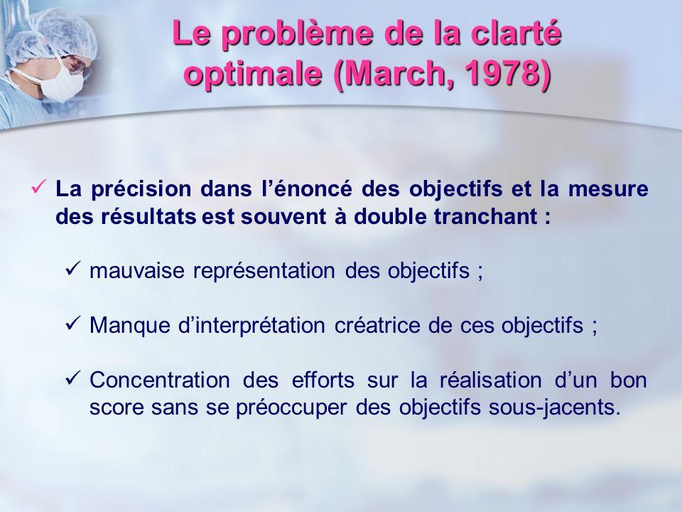 Le problème de la clarté optimale (March, 1978) La précision dans lénoncé des objectifs et la mesure des résultats est souvent à double tranchant : ma
