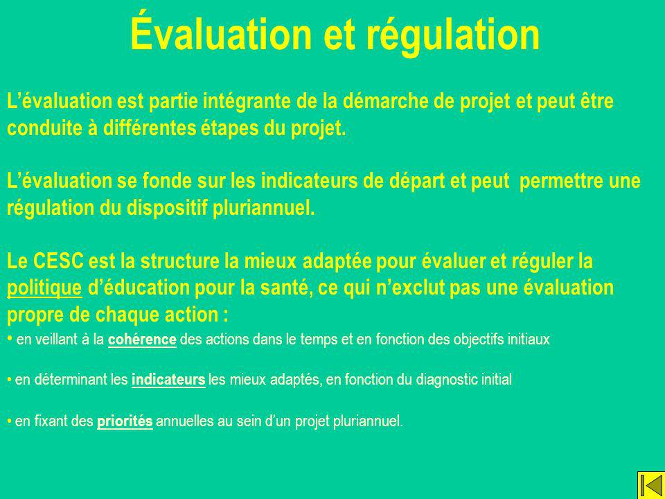 Évaluation et régulation Lévaluation est partie intégrante de la démarche de projet et peut être conduite à différentes étapes du projet. Lévaluation