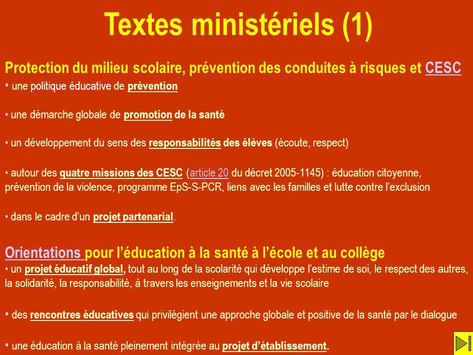 Textes ministériels (1) Protection du milieu scolaire, prévention des conduites à risques et CESCCESC une politique éducative de prévention une démarc