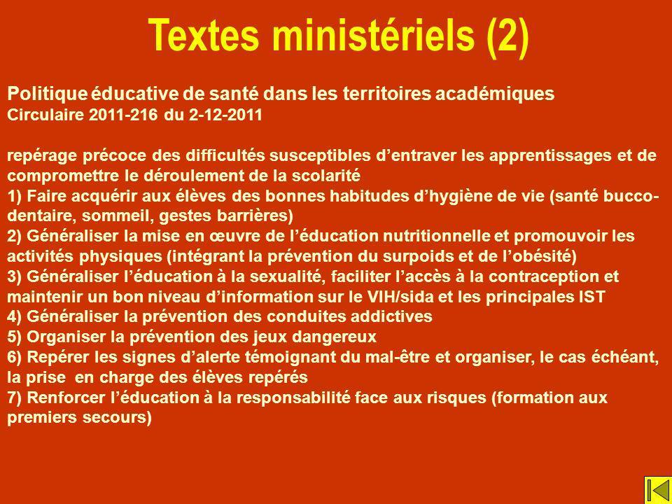 Textes ministériels (2) Politique éducative de santé dans les territoires académiques Circulaire 2011-216 du 2-12-2011 repérage précoce des difficulté
