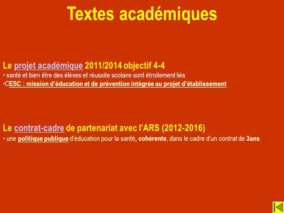 Textes académiques Le projet académique 2011/2014 objectif 4-4projet académique santé et bien être des élèves et réussite scolaire sont étroitement li