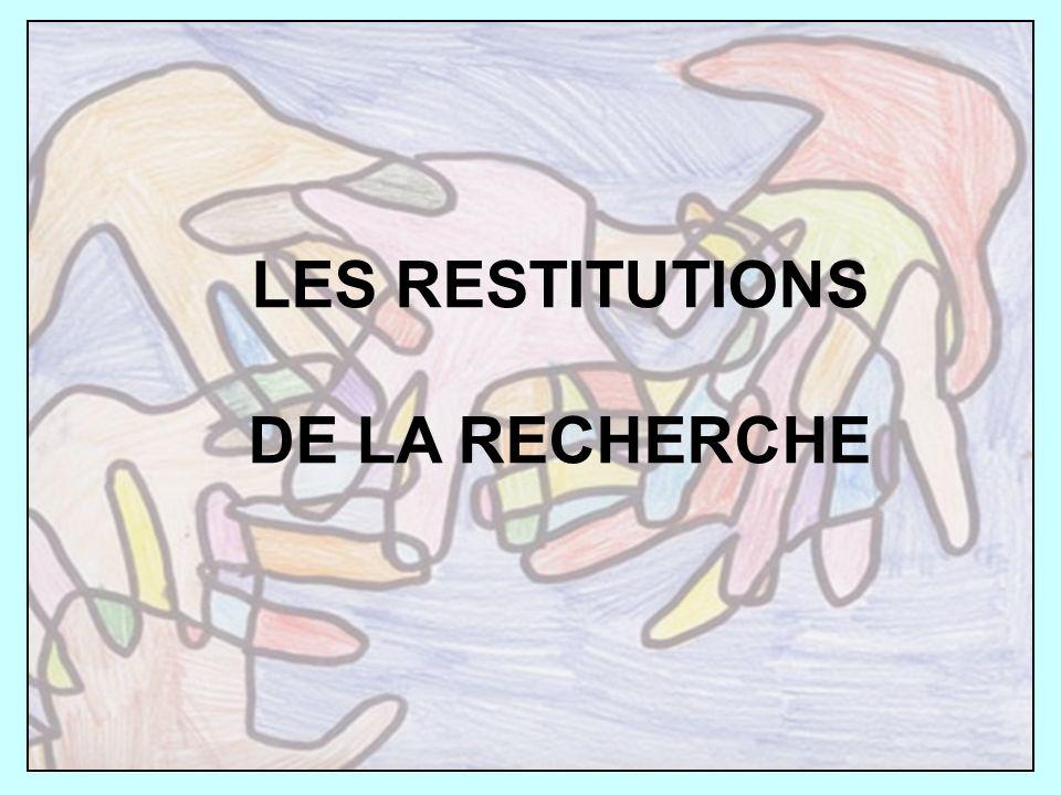 LES RESTITUTIONS DE LA RECHERCHE