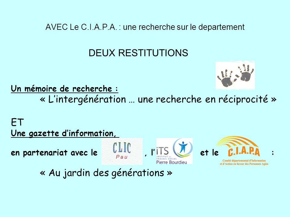AVEC Le C.I.A.P.A. : une recherche sur le departement Un mémoire de recherche : « Lintergénération … une recherche en réciprocité » ET Une gazette din