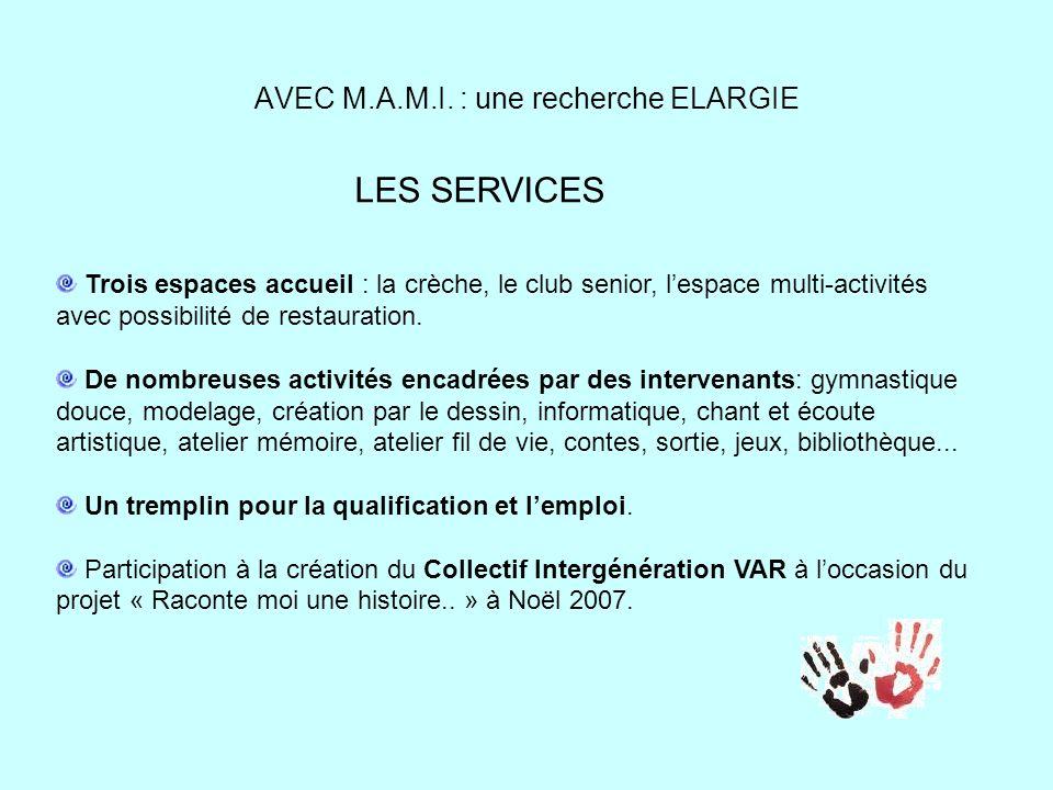 AVEC M.A.M.I. : une recherche ELARGIE LES SERVICES Trois espaces accueil : la crèche, le club senior, lespace multi-activités avec possibilité de rest