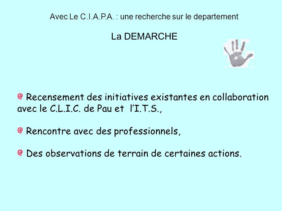 Avec Le C.I.A.P.A. : une recherche sur le departement La DEMARCHE. Recensement des initiatives existantes en collaboration avec le C.L.I.C. de Pau et