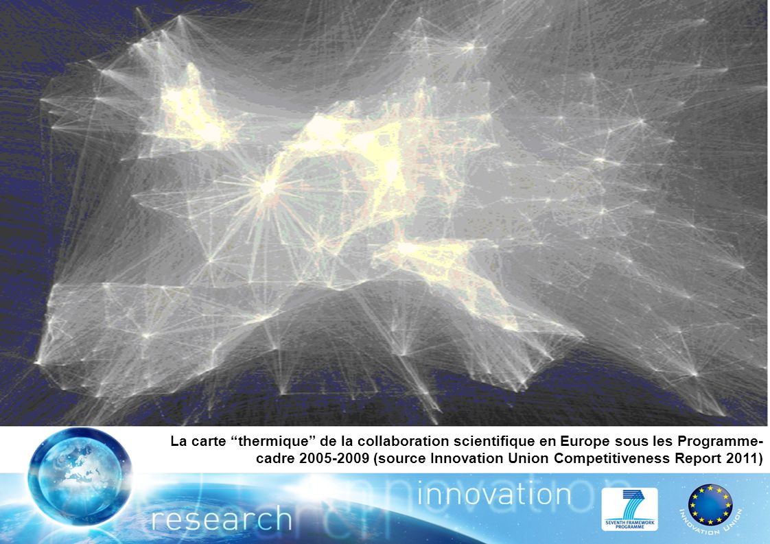 La carte thermique de la collaboration scientifique en Europe sous les Programme- cadre (source Innovation Union Competitiveness Report 2011)