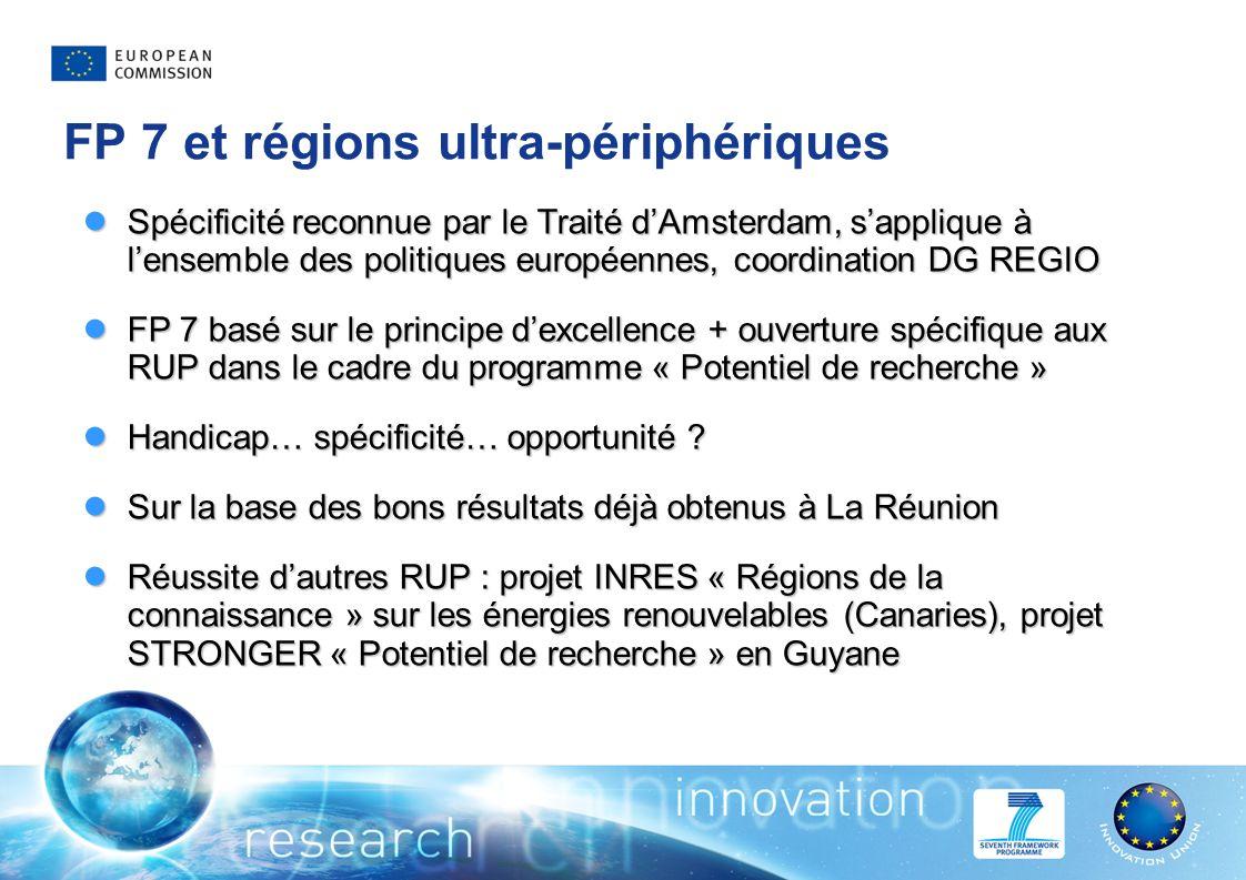 FP 7 et régions ultra-périphériques Spécificité reconnue par le Traité dAmsterdam, sapplique à lensemble des politiques européennes, coordination DG REGIO Spécificité reconnue par le Traité dAmsterdam, sapplique à lensemble des politiques européennes, coordination DG REGIO FP 7 basé sur le principe dexcellence + ouverture spécifique aux RUP dans le cadre du programme « Potentiel de recherche » FP 7 basé sur le principe dexcellence + ouverture spécifique aux RUP dans le cadre du programme « Potentiel de recherche » Handicap… spécificité… opportunité .