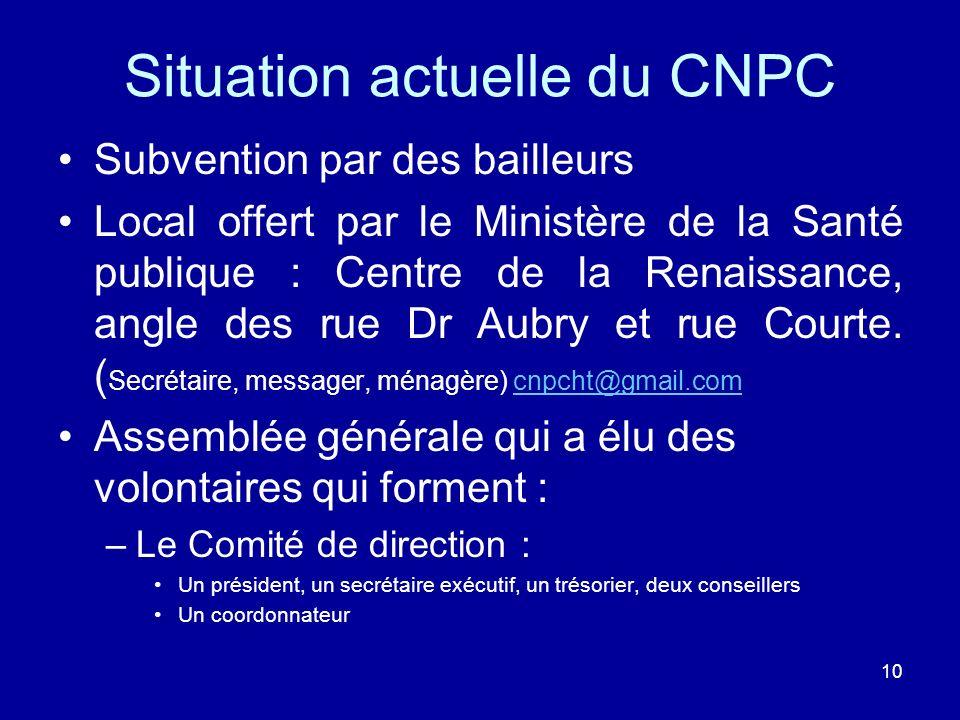 10 Situation actuelle du CNPC Subvention par des bailleurs Local offert par le Ministère de la Santé publique : Centre de la Renaissance, angle des ru